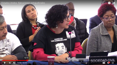 Adriana Camarena speaks to IACHR Commissioners on the case of Luis Góngora Pat and impunity for killings by SFPD